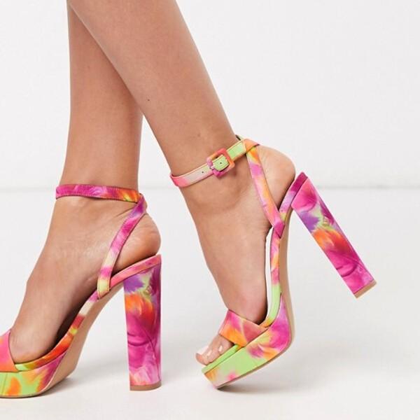 Sandales multicolores minimalistes à talons