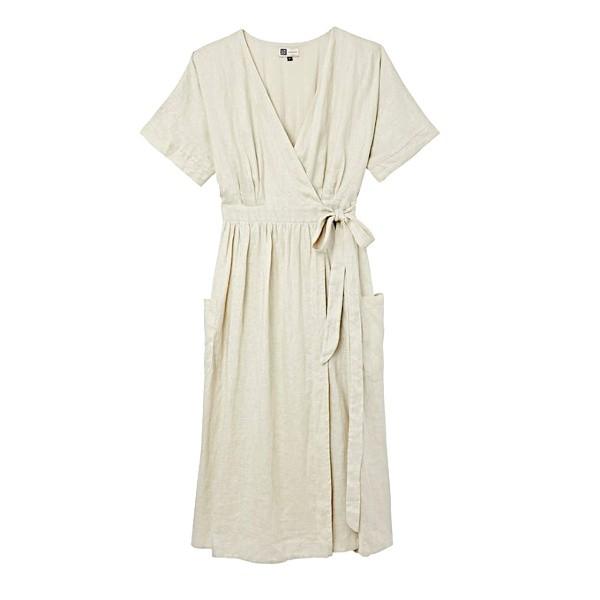 Robe en lin cache-cœur de couleur beige clair