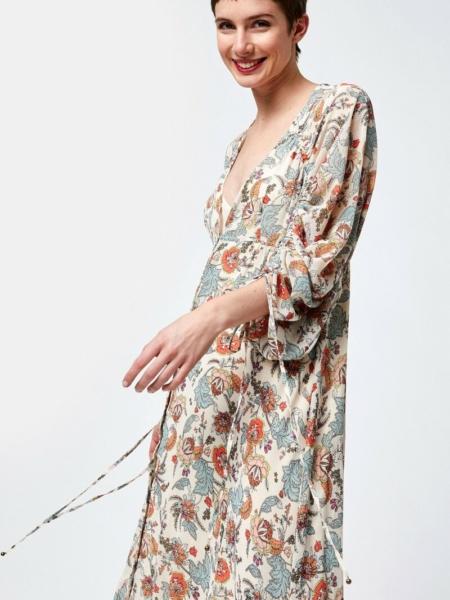 Robe bohème chic beige à motifs fleurs pour femme