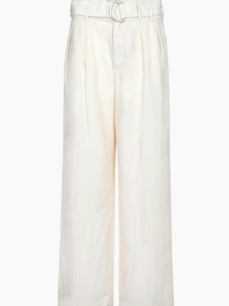 Pantalon large style palazzo à pinces beige en lin
